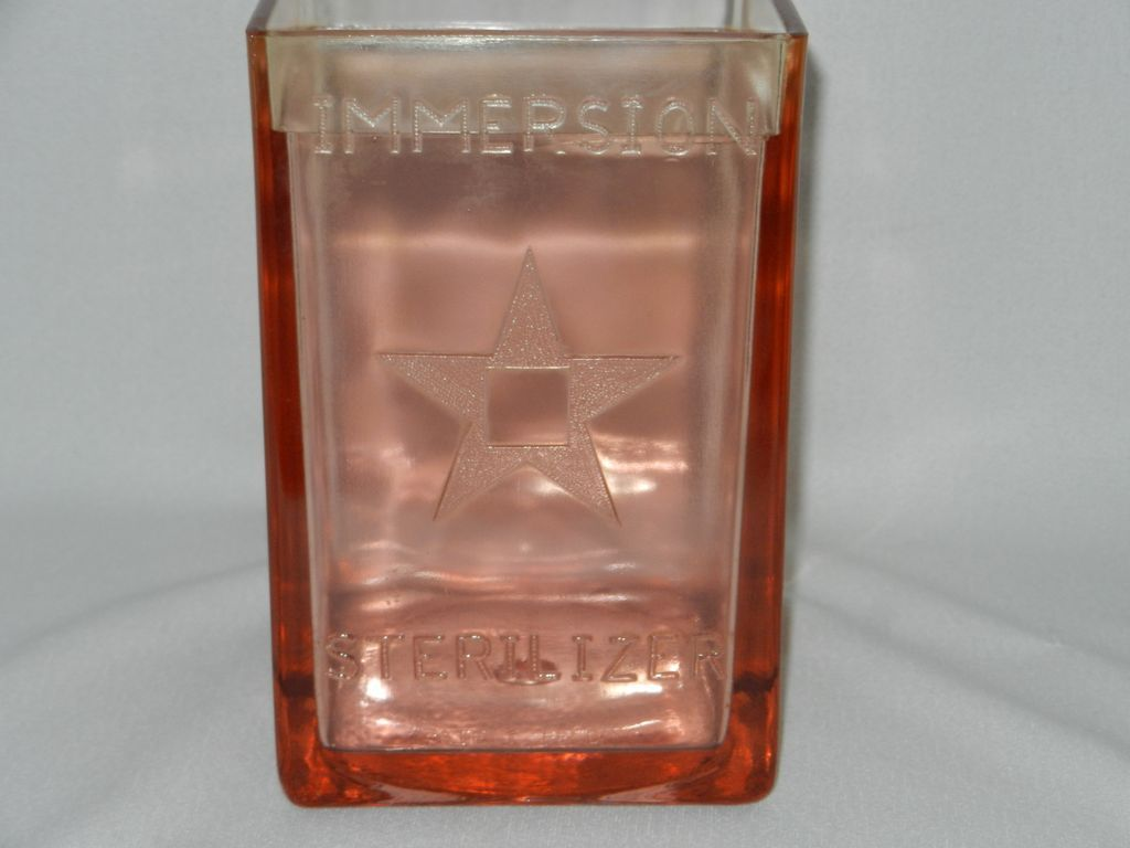 Vintage Pink Glass Medicine Immersion Sterilizer Jar