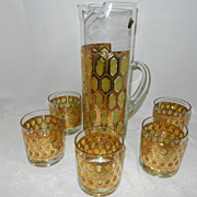 Vintage Cocktail Mixer & Glasses Beverage Set from West Virginia Glass Co.
