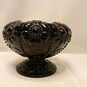 Vintage Fenton Black Amethyst Daisy Footed Rose Bowl - Red Tag Sale Item