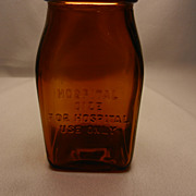 Vintage Embossed Hospital Medicine Bottle