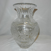 Vintage Leaded Crystal Vase Intaglio Floral Design