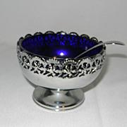 Vintage Cobalt Blue Caviar or Condiment Bowl- Celtic Plate