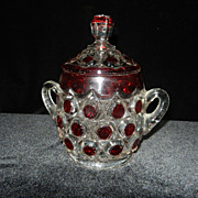 Vintage Red Block Sugar Bowl