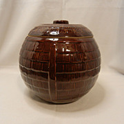 Vintage Round Barrel Crock Cookie Jar