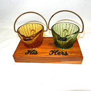 Vintage Glass Coal Shuttle Ashtrays