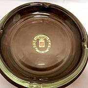 Vintage USS Saratoga Memorabilia- Leather and Glass Ashtray
