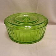 Vintage Uranium Glass Oval Refrigerator  Dish