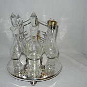 Vintage Robert Pringle and Sons Oval 6 Intaglio Bottle Cruet Set