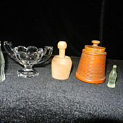 Vintage Miniatures- Butter Mold, Coke Bottles, Compote,Basket