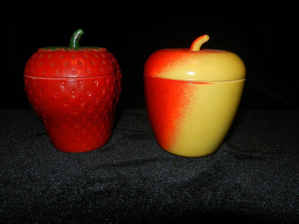 Vintage Apple and Strawberry Milk Glass Sugar or Jam Dish