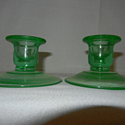 Depression Glass Green Candlesticks