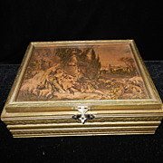 Vintage German Wood Jewelry Box