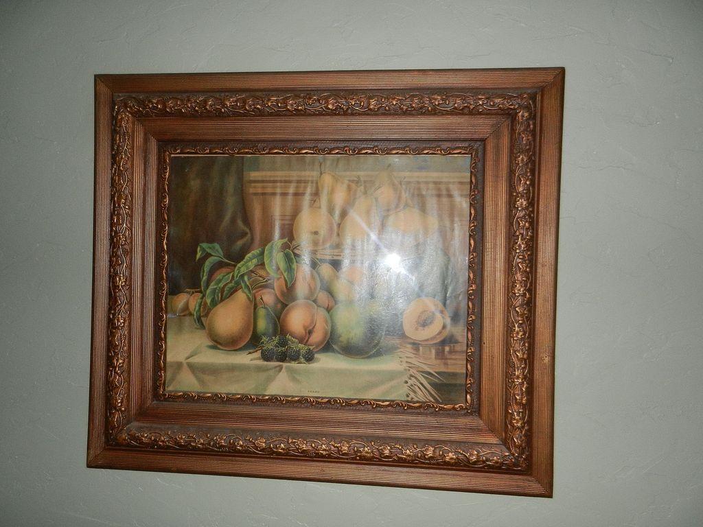 Vintages Oak And Gold Gilt Gesso 3 Layer Ornate Wall Frame