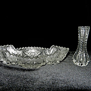 Vintage Imperial Glass Crystal BonBon Dish and Bud Vase