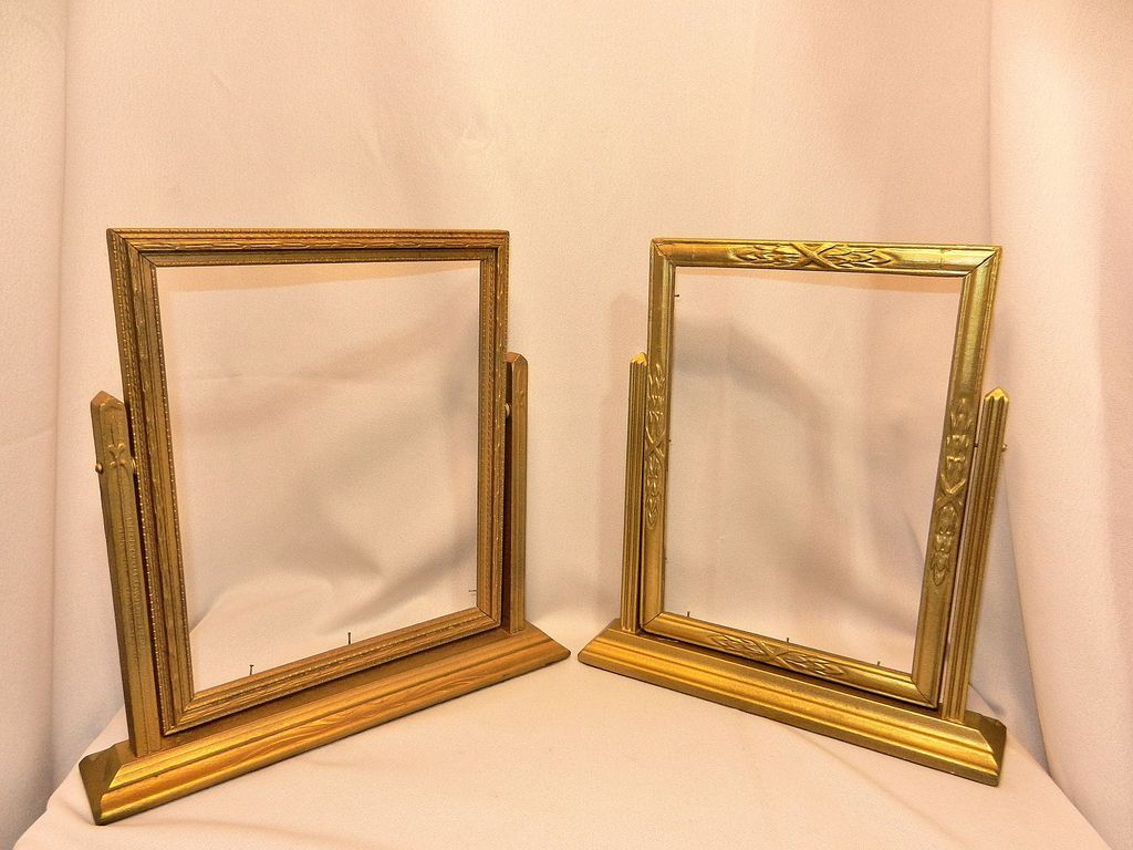 Vintage Art Deco Swinging Wood Picture Frames From