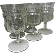 Vintage Jenkins Paneled Sunflower Water or Wine Glasses