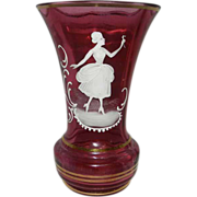 Vintage Mary Gregory Cranberry Vase