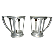 Vintage Pewter Drug Store Drink Holders