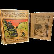 Vintage School Books Geography- Fairbanks and Language Arts - Arnold
