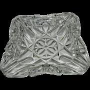 Vintage Large Crystal Pressed Glass Ashtray