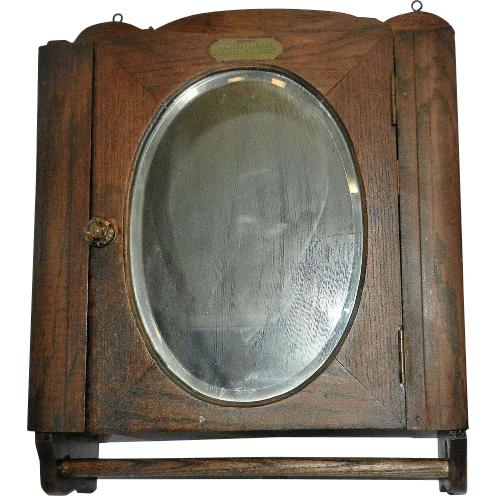 Vintage Oak Medicine Cabinet With Towel Holder My
