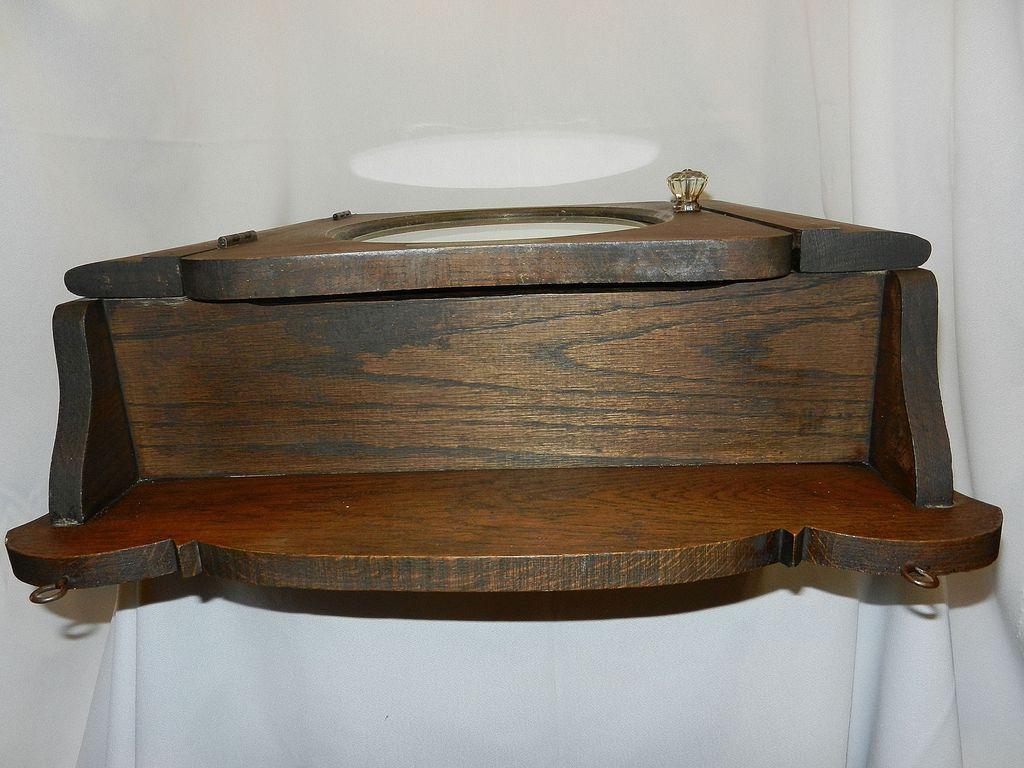 Vintage Oak Medicine Cabinet with Towel Holder from ...