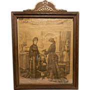 Antique Wood Picture Frame with Harper's Bizarre 1875 Front Page
