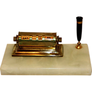 Vintage Brass and Marble Perpetual  Desk Calendar and Pen Holder