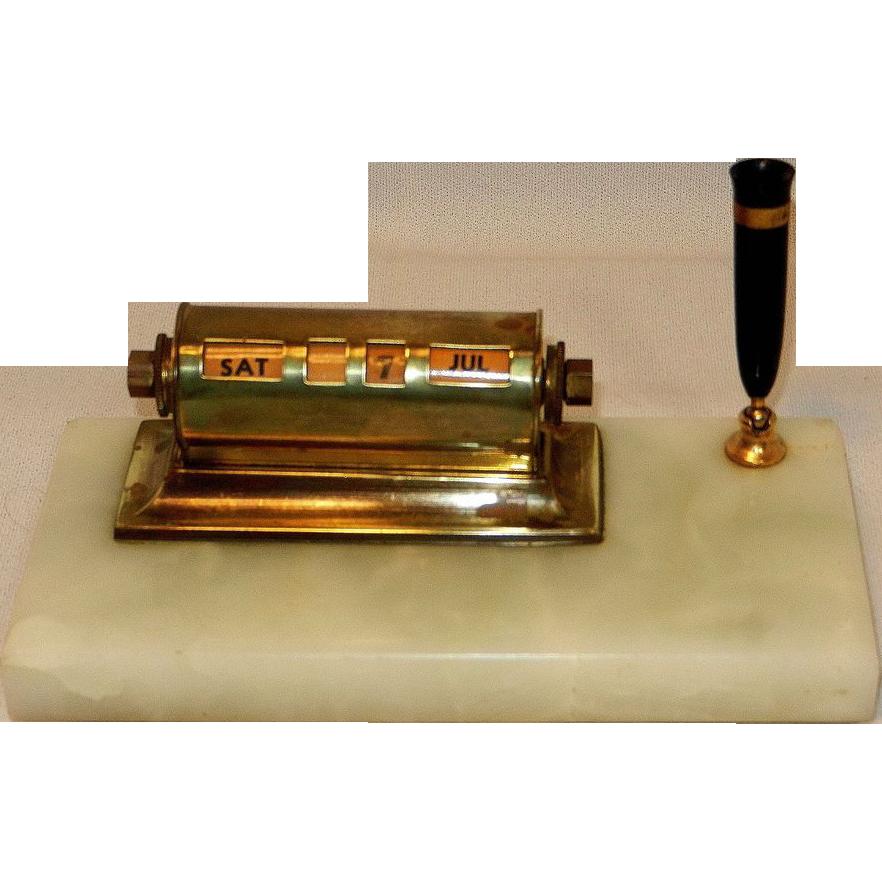 Perpetual Calendar Desk : Vintage brass and marble perpetual desk calendar pen