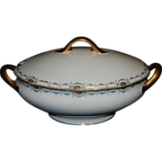 Vintage F-Legrand & Cie China Oval Covered Serving Dish Made in Limoges