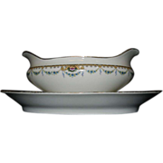 Vintage F-Legrand & Cie China Gravy Boat and Underplate