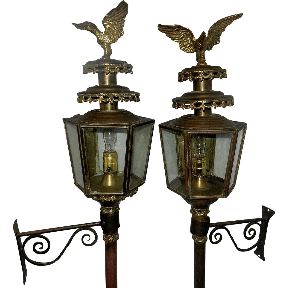 Antique Brass Coach / Carriage Lantern with Eagle SOLD on ...