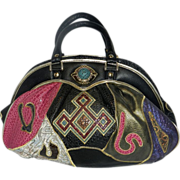 Vintage Faux Leather Multi-colored Patchwork NAS/Alentino Handbag