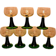 Vintage French Etched Wine Glasses with Green Stem