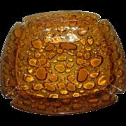 Vintage Blenko Mid-Century Amber Bubble or Pebble Stone Glass Ashtray