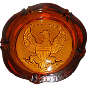 Vintage Mid-Century Amber Eagle Ashtray