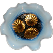Antique Northwood or Jefferson Ruffle  and Ring Opalescent Footed Bowl ca 1900 – 1909