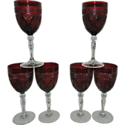 Vintage Red Pressed Glass Wine or Water Goblets