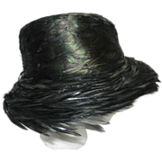 Vintage Iridescent Feathered Ladies Hat