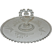 "Vintage Etched Crystal Imperial Candlewick 12"" Center Heart Handle Tray"