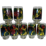Vintage Libby Stained Glass Iced Tea Tumblers in Fruit Pattern