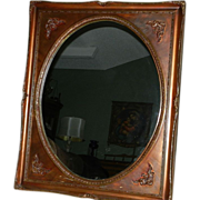 Vintage Oval Mirror Gold/Bronze Square Frame