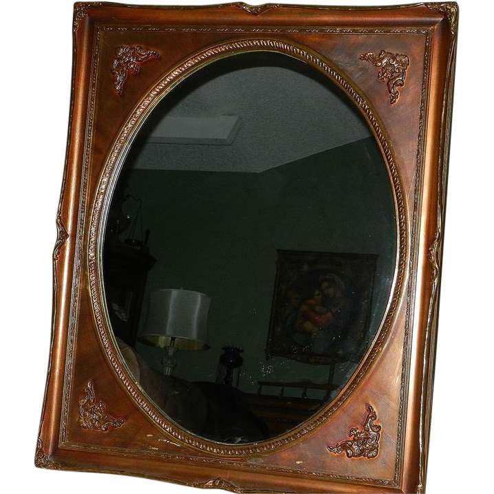 Vintage Oval Mirror Gold Bronze Square Frame My Grandmother Had One Ruby Lane