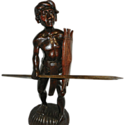 Vintage African Hand Carved Wood Warrior Figurine