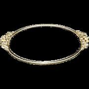 Vintage Ormolu Handled Oval Vanity Mirror