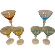 Vintage Colored Martini or Cordials Stemware