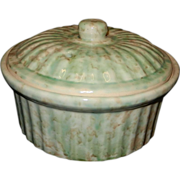 Vintage Green Spongeware Earthenware Pottery Casserole with Lid