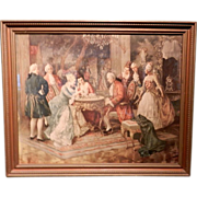 """Vintage """"Victorian Style"""" Lithograph of Chess Playing by Arengen - Red Tag Sale Item"""