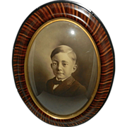 Vintage Tiger Wood Convex Bubble Glass Frame with Portrait of Boy
