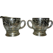 Vintage Sterling Overlay Sugar and Creamer